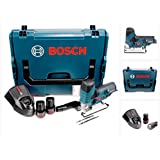 Bosch GST 10,8 V-Li Professional Akku Stichsäge in L-Boxx + 2 x GBA 10,8 V 2,5 Ah Akku + AL 1130 CV Schnelllader