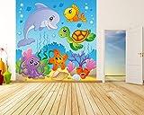selbstklebende Fototapete - Kinderbild - Unterwasser Tiere IV - 200x200 cm - Tapete mit Kleber – Wandtapete – Poster – Dekoration – Wandbild – Wandposter – Wand – Fotofolie – Bild – Wandbilder - Wanddeko