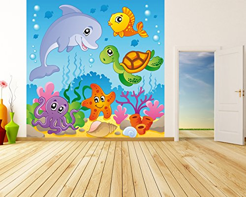 Bilderdepot24 Vlies Fototapete - Kinderbild - Unterwasser Tiere IV - 300x300 cm - mit Kleister – Poster – Foto auf Tapete – Wandbild – Wandtapete – Vliestapete