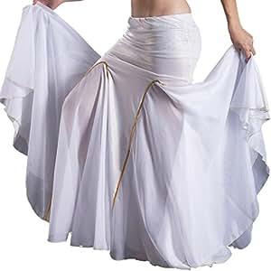 Longue jupe sirene en lycra et mousseline de danse orientale - blanche dorée - belly dance skirt - Perle Orientale