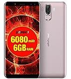 Ulefone Power 3 - 6.0 pulgadas FHD (relación 18: 9) Corning Gorilla Glass 4 Android Smartphone, Octa Core 2.0GHz 6GB + 64GB, Reconocimiento facial, Cámaras cuádruples Batería 6080mAh - Oro