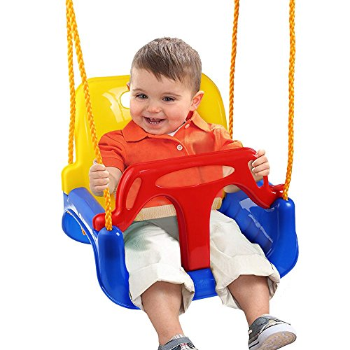 3-in-1 Babyschaukel Kinderschaukel Baby Garten Schaukel Geburtstagsgeschenk Kinder Indoor Outdoor Spielzeug 33*24.5*35CM 200KG über 6 Monate Einstellbare Seillänge: 1.5 - 2m (Blau-Rot-Gelb)