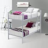 UEnjoy Bunk Beds Frame Single Bed 2x3ft for Kids Children and Adult, Can be Split 2 Bed, Silver