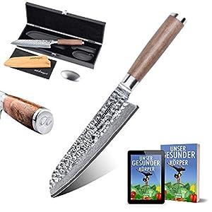 adelmayer®-Profi Santoku Damast Küchenmesser extrem scharfe Klinge aus japanischem Damaststahl mit Walnussgriff und Wildledertuch