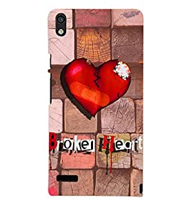 PrintVisa Romantic Love Broken Heart 3D Hard Polycarbonate Designer Back Case Cover for Huawei Acend P6