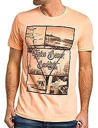 BLZ jeans - Tee-shirt homme orange fluo imprimé