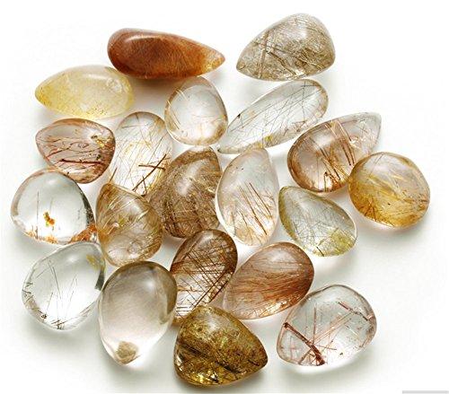 Aitelei 2pcs golden hair cristallo di quarzo naturale lucido gem esemplari guarigione reiki ciondolo in pietra per fare gioielli decorazioni per la casa
