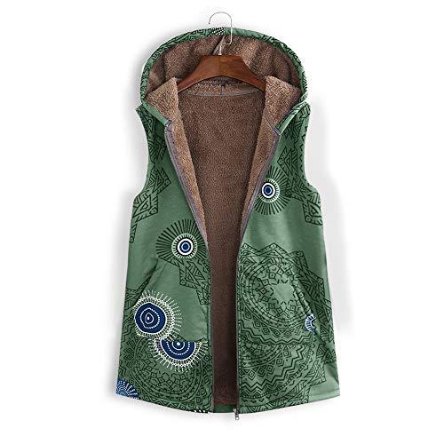 Staresen Mantel Damen Winter Warm Outwear Vintage Geometric Print Mit Kapuze Taschen Übergröße Weste Mantel Damen Kapuzenjacken Weste mit Retro Print Coat Winter Casual