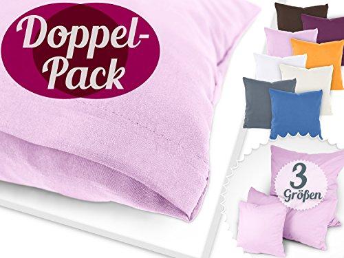 Kissenhüllen im Doppelpack - aus Mikrofaser - in 8 aktuellen Farben – schlicht, modern und super kombinierbar, 40 x 80 cm, rosa