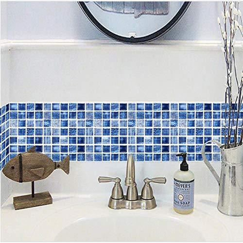 Set di 12 pezzi adesivi piastrelle 3D Vintage blu adesivo parete cucina 20x20cm, adesivi impermeabili fai da te piastrelle cucina e bagno, adesivi piastrelle parete adesivo anti-collisione