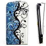 Butterfly Handy Tasche Flip Case Schutz Hülle für LG L65 D280N Flower Design Muster QJC-357 Cover Etui Bag Neu