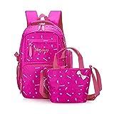 WINGMO Set per la scuola Zainetti per bambini + Borse Messenger + astuccio Adatto per le ragazze adolescente (Rose Red)