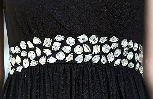 medeshe femmes robe de demoiselle d'honneur Longueur au sol Violet Cadbury Party Maxi robe Noir