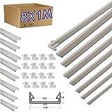 8 * 1 metro Perfil aluminio tira led con tapa superficie 14 x 5 mm -...