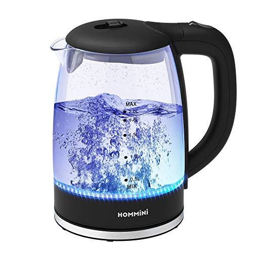 HOMMINI Bouilloire Électrique, Bouilloire Electrique Verre Transparent avec Capacité 2L, 2200W, 100% Sans BPA, Filtre à Chaux Amovible et LED Bleu, arrêt Automatique pour Le thé Le Café