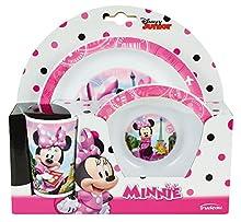 FUN HOUSE 005471, Disney Minnie, Set pasto Composto da Un Piatto, Una Ciotola e Un Bicchiere, per Bambini, in Polipropilene, Rosa, 26,5 x 8,5 x 24,5 cm
