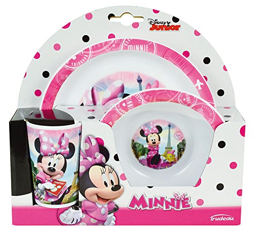 FUN HOUSE 005471 Disney Minnie Ensemble Repas Contenant 1 Assiette, 1 Bol et 1 Verre pour Enfant Polypropylène Rose 26.5x8.5x24.5 cm