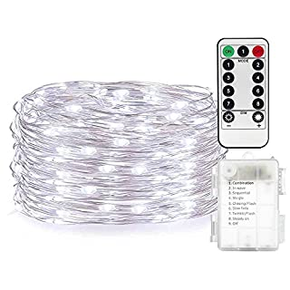AndThere Fairy Lights Battery Operated Waterproof with Remote Control 8 Modes 50 LED 16ft/5m String Lights Copper Wire Firefly Lights for DIY Party Dinner Bedroom Wedding Festival Decor (White)