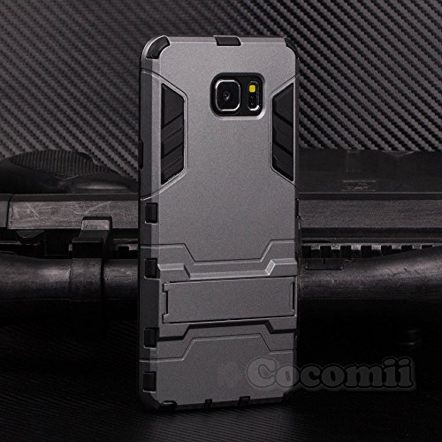 Galaxy Note 5 Funda, Cocomii Iron Man Armor NEW [Heavy Duty] Premium Tactical Grip Kickstand Shockproof Hard Bumper Shell [Military Defender] Full Body Dual Layer Rugged Cover Case Carcasa (Gray)