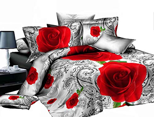 ZQYY Luxuriös 3D Bettbezug, Rose Serie, Mikrofaser, Bettwäsche-Set von 4, Einschließlich:Bettbezug200*230cm*1, Kissenbezug 48 * 74cm*2, Bettlaken250*250cm*1