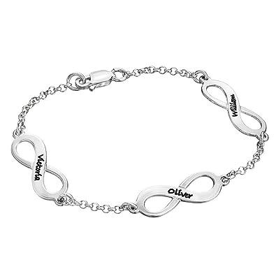 Bracelet Triple Infini Personnalisé avec Prénoms en Argent ,  Personnalisation Gratuite Amazon.fr Bijoux