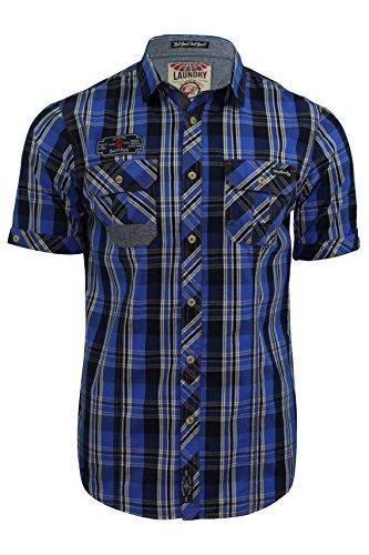 Herren Hemd von Tokyo Laundry `Lozano`kariert, kurzärmlig Olympian Blue