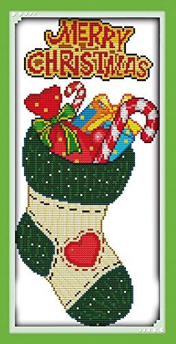 Lemon Tree Kreuzstich Kits Anfänger Kreuzstich Genaue Vorgedrucktes Muster-Merry Christmas 11CT rahmenlose Christmas stocking (Happy Stitch Halloween)
