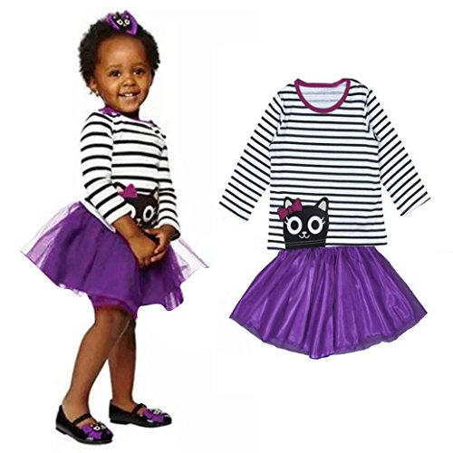 Culater® Bambino Bambini Ragazza fototecnica Clothes Stampa maniche lunghe T-Shirt Top + Lace Skirt 1Set (4/5T)