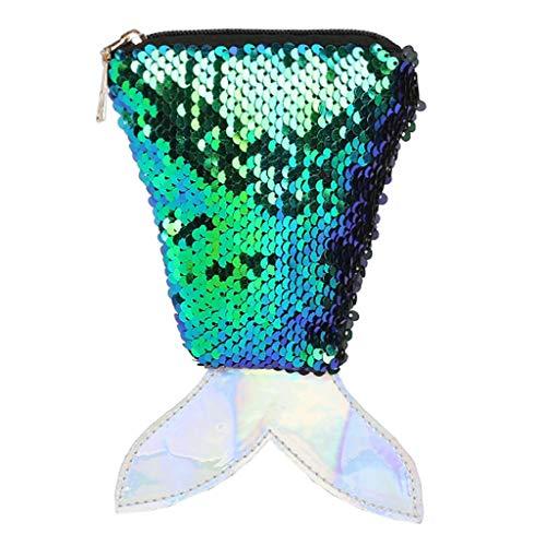 Pailletten Crossbody Tasche,Transwen Frauen Kleine Fisch Umhängetaschen Glitzer Messenger Bag Schulter Münztüte Phone Tasche für mädchen Geschenke (Grün)