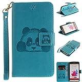 Hülle für LG G3, LG G3 Hülle / Handyhülle / Schutzhülle / Ledertasche / Tasche / Case / Cover / Flip Brieftasche, Anlike Geprägte Panda für LG G3 (5,5 Zoll) Bookstyle Kartenfach Standfunktion Handytasche mit Abnehmbar Handy Lanyard für [LG G3 (5,5 Zoll)] - blau