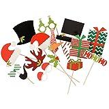 Mopec Set de 17Pics de Carton de Noël pour Photos en Carton Rouge 1,5x 23,5x 25,5cm