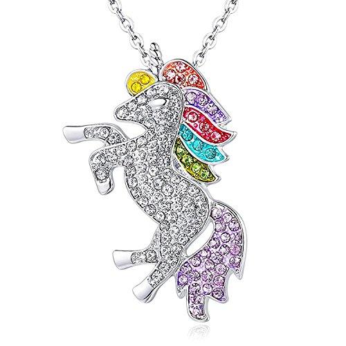 (Einhorn Anhänger Halskette Regenbogen Strass Kristall Rhodium Hohe Poliert Einhorn Charm Halskette für Mädchen)