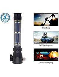 Voroly Solar Torch Light High Power Long Distance Rechargeable 7 Modes Emergency Tool with Window Breaker Seat Belt Cutter Compass for Camping Hiking (Black)