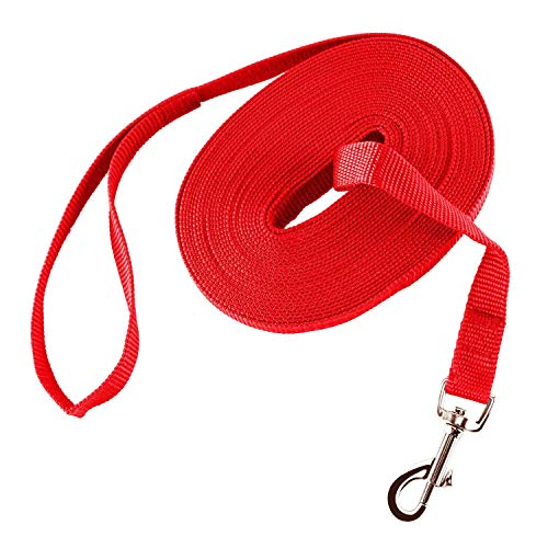 Lungo Guinzaglio da Addestramento per Cani Nylon Resistente Leggero Regolabile con Fibbia Lega Zinco per Cane Allontanare Sicurezza Lunghezza 15m Rosso