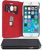 WIIUKA Echt Ledertasche -TRAVEL- für Apple iPhone 8 und iPhone 7 mit Kartenfach, extra Dünn, Tasche RED Edition, Schwarz Rot, Leder Hülle kompatibel mit iPhone 8/7
