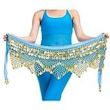 YiJee Profesional Multi-Row Lentejuelas Danza del Vientre Cinturón Lago Azul