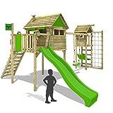 FATMOOSE Stelzenhaus FunFactory Fit XXL Spielturm Kletterturm mit Turmanbau inkl. Holzdach und großem Spielhaus auf Stelzen Kletterleiter Kletternetz Schaukel Rutsche