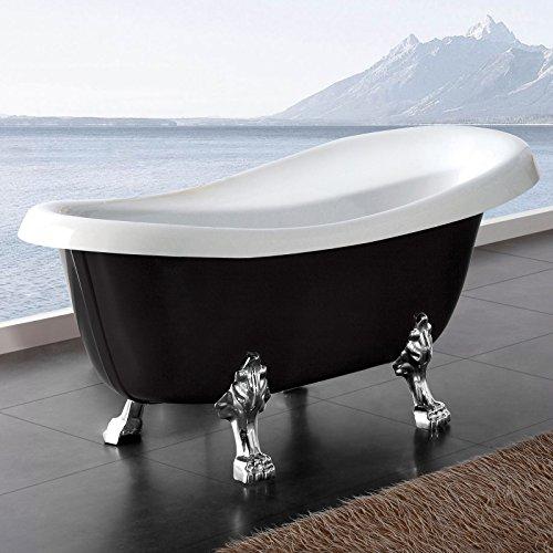 Möbelcreative Freistehende Design Badewanne Nostalgie inkl. Ab- und Überlauf schwarz chrom
