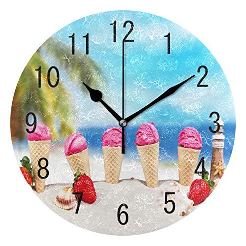 Use7 Home Decor Summer Beach Ice Cream Erdbeere Obst Seestern Runde Acryl Wanduhr Non-Ticking Silent Clock Art für Wohnzimmer Küche Schlafzimmer
