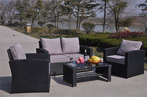 YAKOE 4-Piece Rattan Garden Furniture Sofa Set Table And