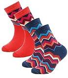 EveryKid Ewers 2er Pack Mädchensocken Sparpack Markensocken Socken Strümpfe Söckchen Zick Zack für Kinder (EW-201005-S17-MA0-0003-39/42) in Stahlblau-Flamingo, Größe 39/42 inkl Fashionguide