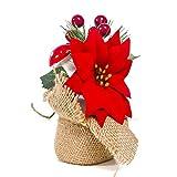 Balight Árbol de Navidad en miniatura artificial grande de 6 pulgadas con bayas y...