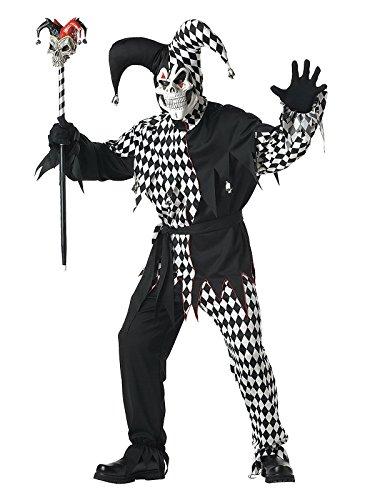 Böser Clown Harlekin Halloween-Kostüm schwarz-weiss (Clown Böse Schuhe)