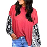 Linkay T Shirt Damen Langarm Bluse Lässig Drucken Tops O-Neck Oberteile Mode 2019 (Rot, XX-Large)