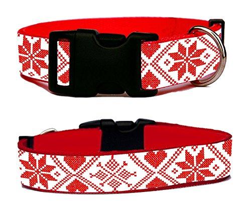 bordado-nordico-navidad-christmas-scandanavian-style-collier-de-chien-dog-collar-reglable-taille-m