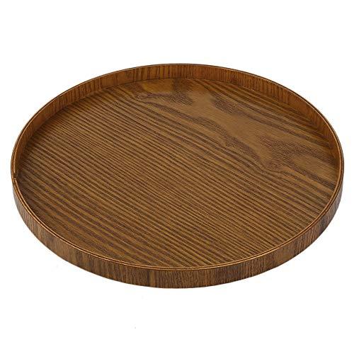 Platte Original-Geschirr aus Holz Tee Platte Handgefertigte Natur Serviertablett Round Tea Set Multifunktionaler Lagerung Lebensmittel 21CM / 30CM Yellow Tea Platte