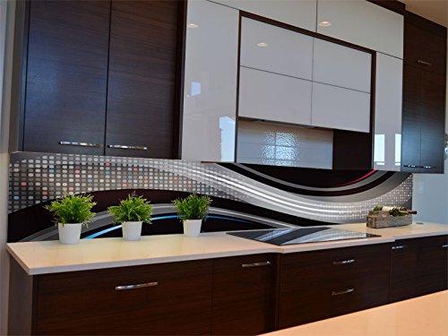 Dalinda® Küchenrückwand Küchenboard Küchenrückseite mit Design Black Waves KR115