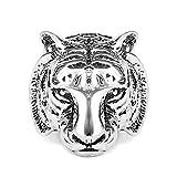 Ringe für Herren, verstellbar mit Band, Vintage-Tiger-Totenkopf, antiker, cooler Gothik-Stil, Größe 55 bis 68