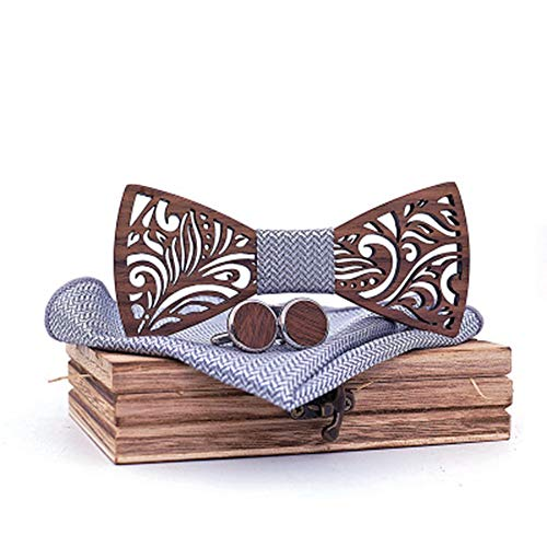 Der vorgebundene Bogen der Männer Handgefertigte Massivholz Qualität Log Custom Holz Fliege europäischen und amerikanischen Trend Tie Set Krawatten für Hochzeitsfeier ( Farbe : 6 , Größe : Free size ) - Handgefertigte Massivholz