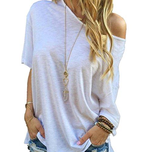 Amlaiworld Frauen Sommer Kurzarm Bluse beiläufige Oberseiten T Shirt (M, Weiß)